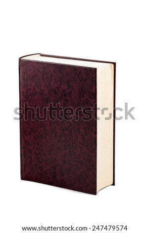 Maroon wooden casket in the form of a closed book isolated on a white background - stock photo