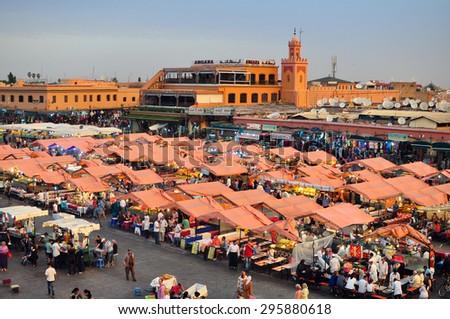 marrakech city morocco Djemaa El-Fna square landmark 05.06.2015 - stock photo