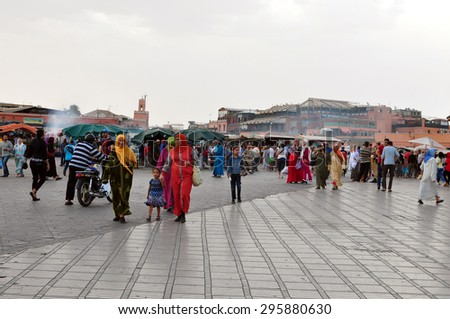 marrakech city morocco Djemaa El-Fna square landmark 04.06.2015 - stock photo
