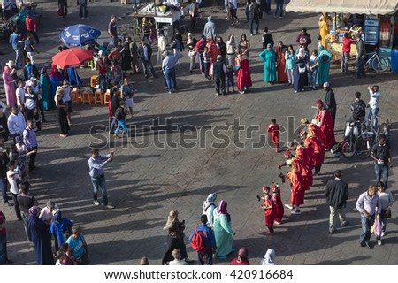 MARRAKECH, MOROCCO - APRIL 23, 2016: Unidentified dancers in Jemaa el Fna Square in Marrakesh, - stock photo