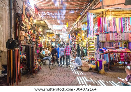 MARRAKECH, MOROCCO - CIRCA MAY 2013: Streets of Marrakech in old town Medina - stock photo