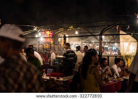 Marrakech, Morocco - Circa September 2015 - food stall on djemaa el fna - stock photo