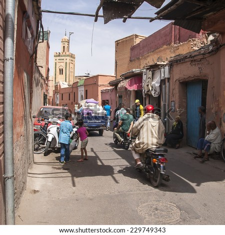 MARRAKECH, MOROCCO - CIRCA SEPTEMBER 2014: streets of Marrakesh circa September 2014 in Marrakech.