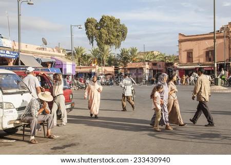 MARRAKECH, MOROCCO - CIRCA SEPTEMBER 2014: streets of Marrakesh circa September 2014 in Marrakech. - stock photo