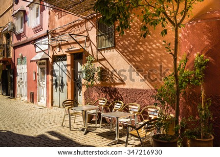 Marrakech, Morocco - 30 October 2015: Early in the morning before the opening of the Marrakesh tearoom - stock photo