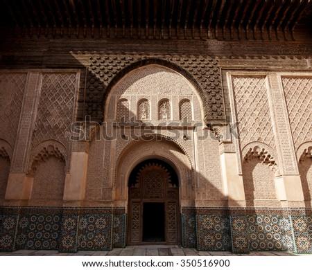 MARRAKECH, MOROCCO - OCTOBER 27, 2015: Madrasa Ben Youssef, Marrakech, Morocco. This Madrasa was an Islamic college in Marrakesh. - stock photo