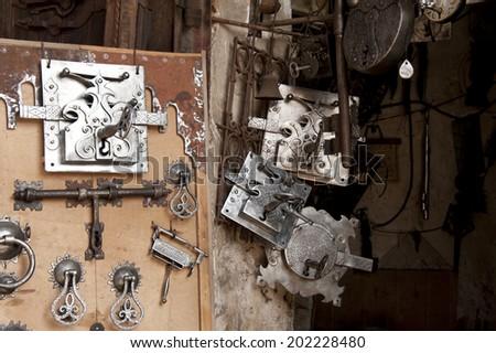 Marrakech, Souk, slling locks and keys on Market - stock photo
