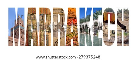 Marrakech written with landmarks letters - stock photo
