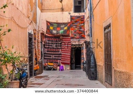 MARRAKESH, MOROCCO, APRIL 2, 2015: Carpets for sale - stock photo