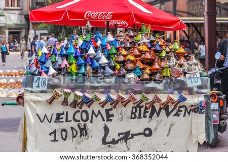 MARRAKESH, MOROCCO, APRIL 3, 2015: Jemaa el-Fnaa square - stand with ceramic souvenirs - stock photo