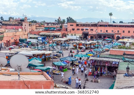 MARRAKESH, MOROCCO, APRIL 3, 2015: Jemaa el-Fnaa square -view from above - stock photo