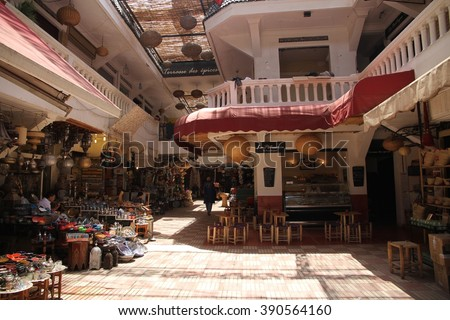 MARRAKESH, MOROCCO - JULY 11: The inside of a souk of the Jemaa el Fna square of the Old Town of Marrakesh, Morocco on the 11th July, 2016. - stock photo