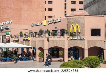 MARRAKESH, MOROCCO - NOV 21: Mc Donalds fastfood restaurant in the city of Marrakesh. November 21, 2008 in Marrakesh, Morocco - stock photo