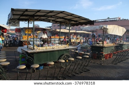 MARRAKESH, MOROCCO - OCTOBER 9: A cooking station in the busy Jemaa el Fnaa square in the old city of Marrakesh, Morocco on the 9th October, 2015. - stock photo
