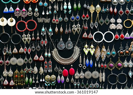 MARRAKESH, MOROCCO, OCTOBER 25, 2015. Jewellery for sale in Marrakesh, Morocco, Africa