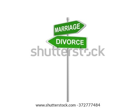 Marriage and divorce, road sign pointing in the different directions, 3d illustration