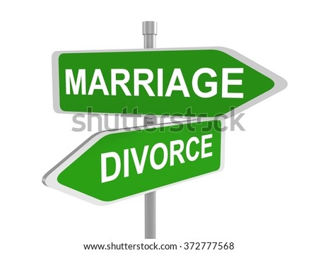 Marriage and divorce, road sign pointing in the different directions, 3d illustration - stock photo