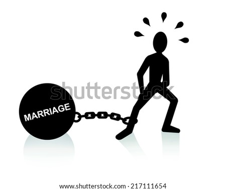 marriage burden  - stock photo