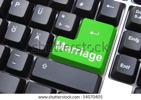 marriage button on computer keyboard showing love concept