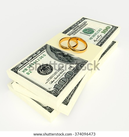 Marriage contract. Two gold wedding rings on the money