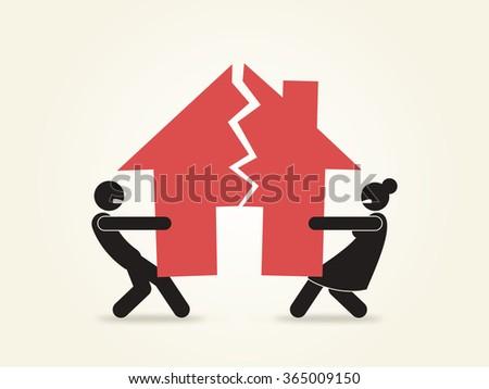 Marriage Couple Relationship Divorce Problems Split up Illustration - stock photo