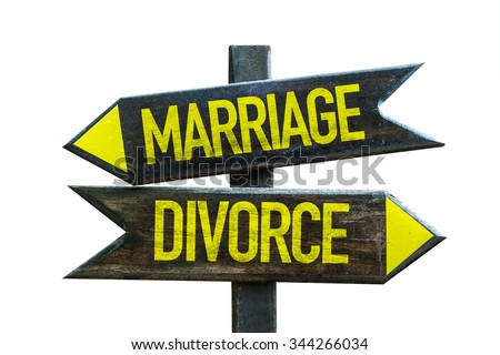 Marriage - Divorce signpost isolated on white background - stock photo