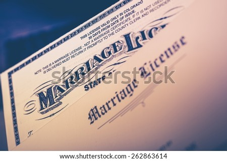 Marriage License Documents Closeup. United States Marriage License. - stock photo