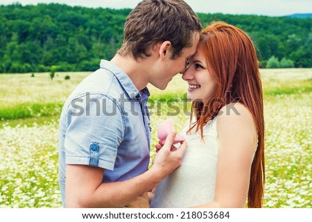 Marriage proposal. Portrait of young beautiful couple  - stock photo