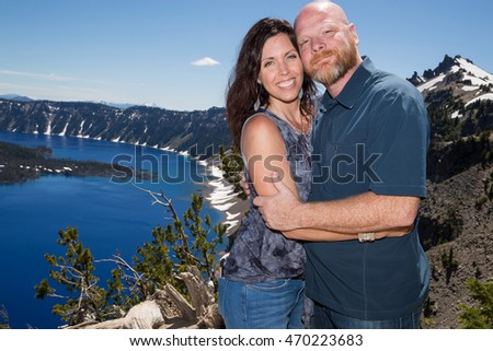 Married couple at Crater Lake Oregon