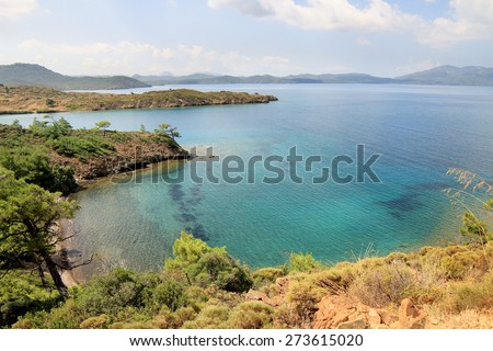 Marrmaris sea coast from top of a hill. Turquoise waters of Mediterranean Sea in Turkey Country - stock photo