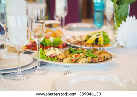 marrow rolls on festive table - stock photo