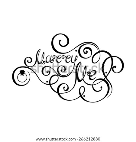 Marry Me Inscription, St. Valentine's Day Symbol, Wedding. Hand Drawn Lettering. Ornate Vintage Lettering - stock photo