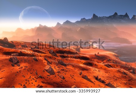 Mars and Phobos moon, Martian landscape, moon over mountains.  Mist and rocks