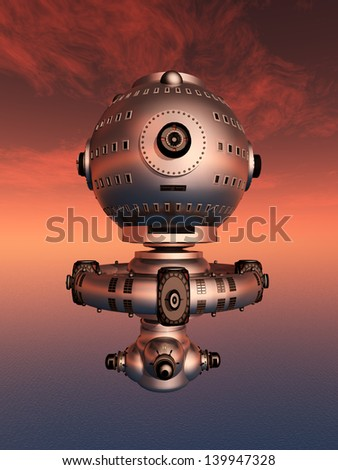 Mars Atmosphere with Space Station Computer generated 3D illustration - stock photo