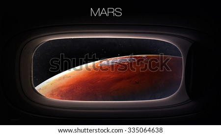 Mars - Beauty of solar system planet in spaceship window porthole. Elements of this image furnished by NASA - stock photo