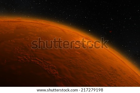 Mars. Fantastic planet - stock photo