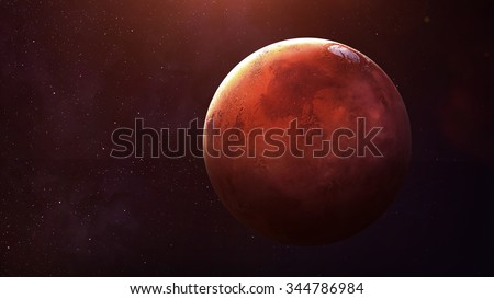 Mars - High resolution best quality solar system planet.  This image elements furnished by NASA. - stock photo