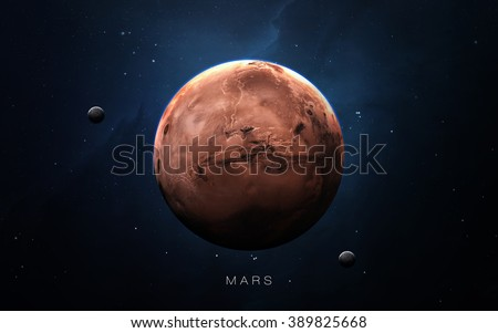 Mars - High resolution 3D images presents planets of the solar system. This image elements furnished by NASA. - stock photo