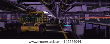 Mars Hydroponics Gallery with Utility Vehicles - stock photo
