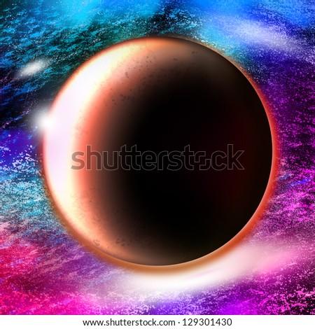 Mars in nebulae,Mars planet illustration - stock photo
