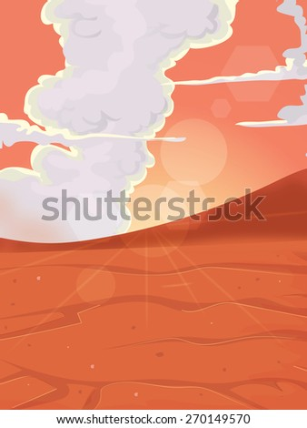 Mars Landscape, this is the landscape of the planet Mars, the sun is shining through as it sets on the alien landscape. - stock photo