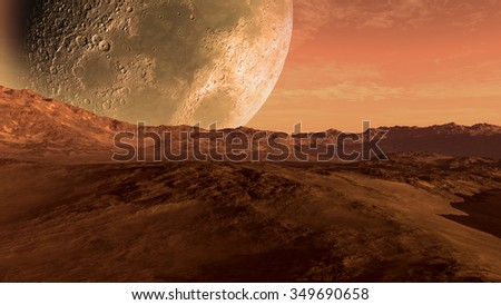 Mars like red planet with arid landscape, rocky hills and mountains, and a giant moon at the horizon, for space exploration and science fiction backgrounds. Elements of this image furnished by NASA.
