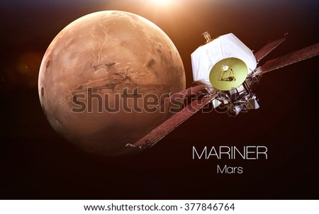 Mars - Mariner spacecraft. This image elements furnished by NASA. - stock photo