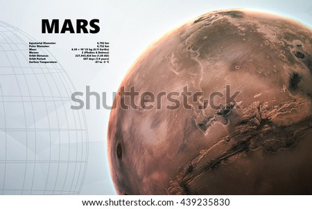 Mars. Minimalistic style set of planets in the solar system. Elements of this image furnished by NASA - stock photo