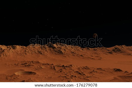 Mars or moon surface - stock photo