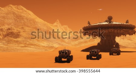 Mars Outpost 3D illustration - A spacecraft takes off from Mars to return to Earth as all-terrain vehicles embark on an exploratory mission. - stock photo