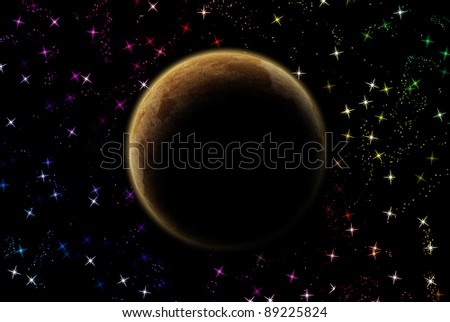 Mars planet in solar system on star