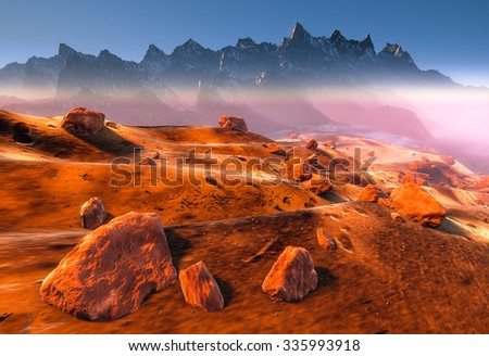 Mars - Red Planet dry dunes and rocks of Martian landscape. Fog, dust and mountains - stock photo
