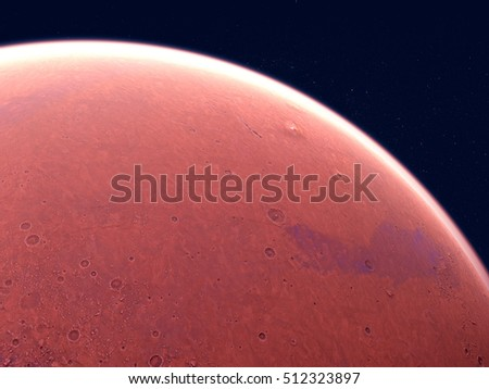 Mars, soil crust, space, solar system. Element of this image are furnished by NASA. 3d rendering