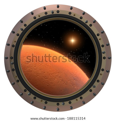 Mars Spacecraft Porthole. 3D Scene. Elements of this image furnished by NASA. - stock photo